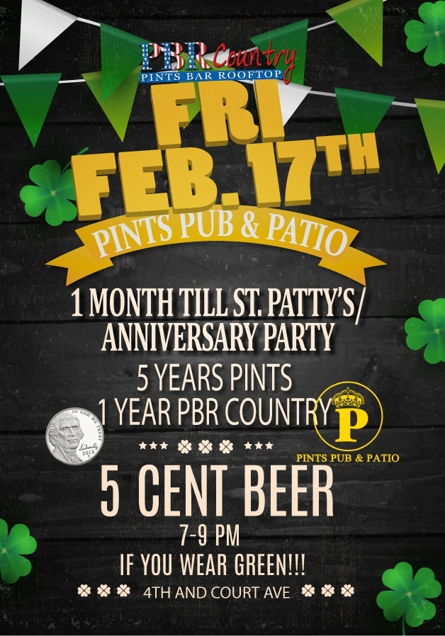 Pints anniversary flyer - Rhonda Cosgriff Designs
